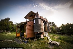 The outside of a New Zealand couples transformed Bedford truck made into their very own road-legal glamping castle.