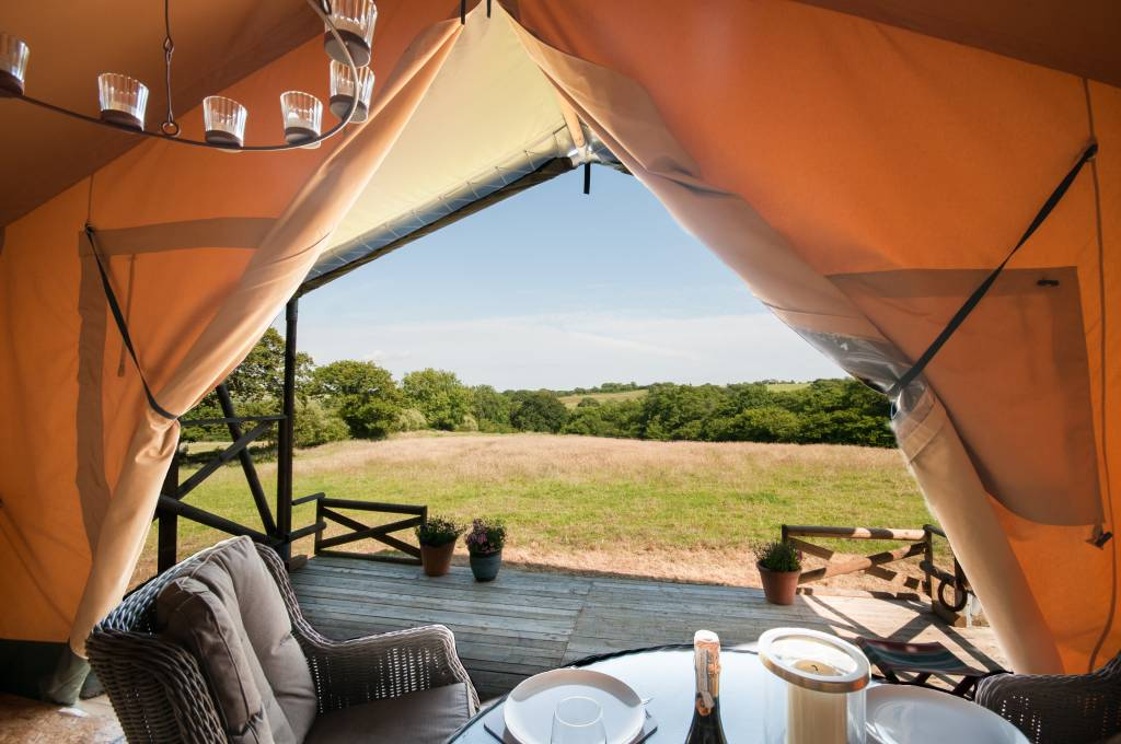 The view looking out of Deerland Safari Lodge UK Glamping in Dorset