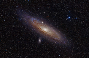 The Andromeda Galaxy approximately 2.5 million light-years away in the constellation Andromeda.