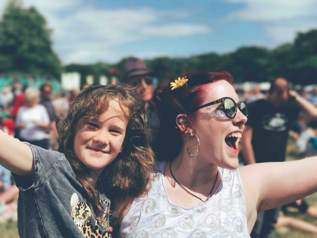 mother and daughter enjoying glamping in the Uk at a family friendly festival