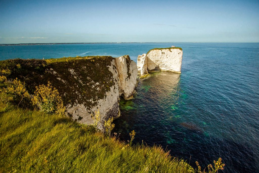 The Old Harry Rocks surrounded by the crystal-clear sea