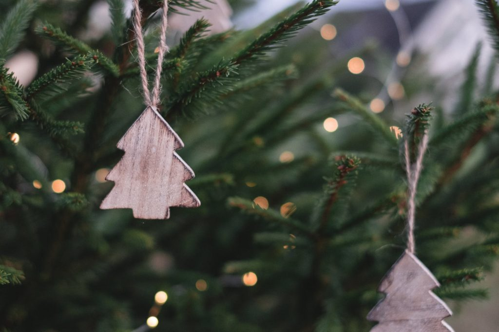 Wooden Christmas decorations hanging on a tree.