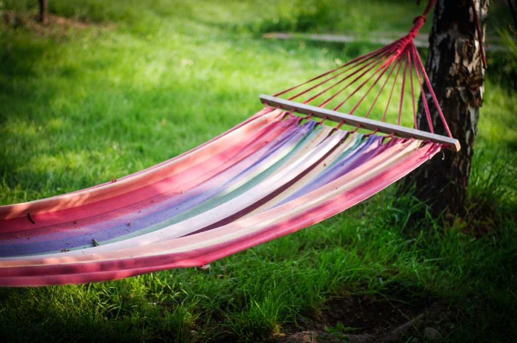 A hammock at sunset.