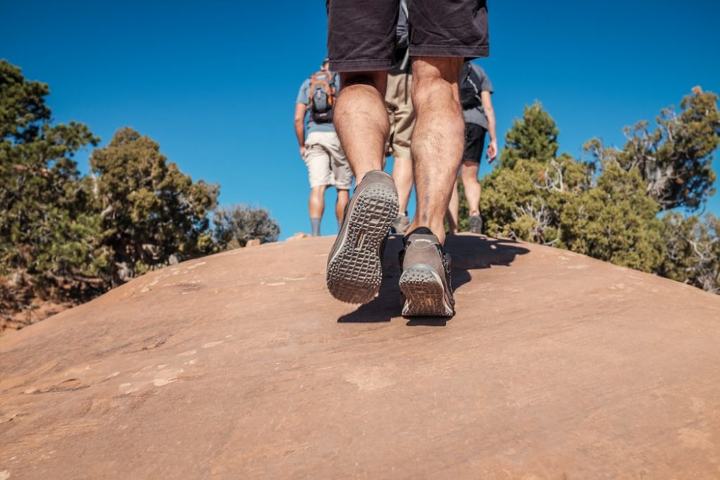 A man walking in his walking boots