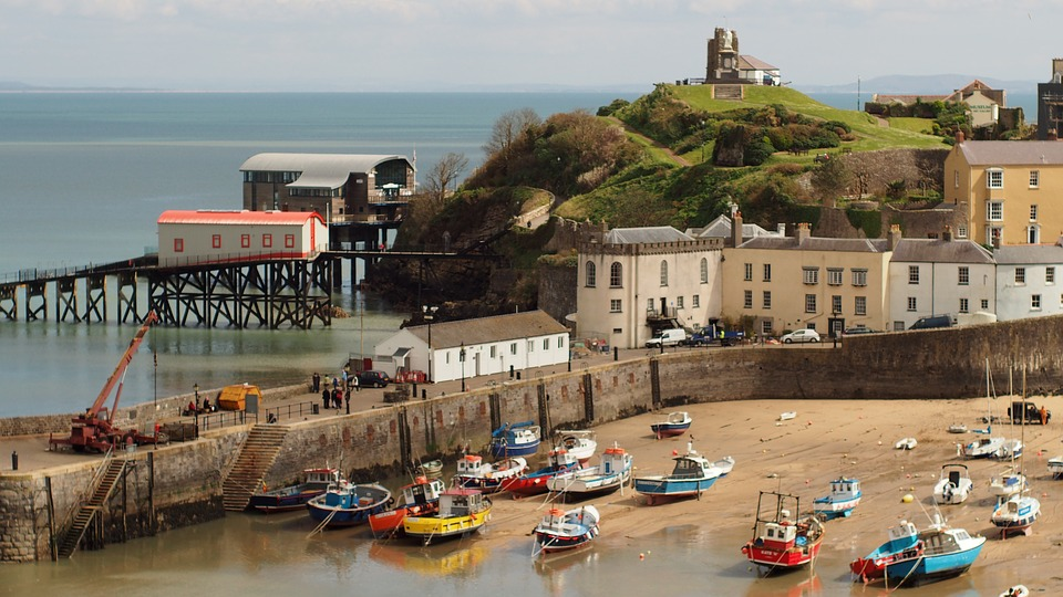 Pembrokeshire, a picture of a town with a harbour and the sea